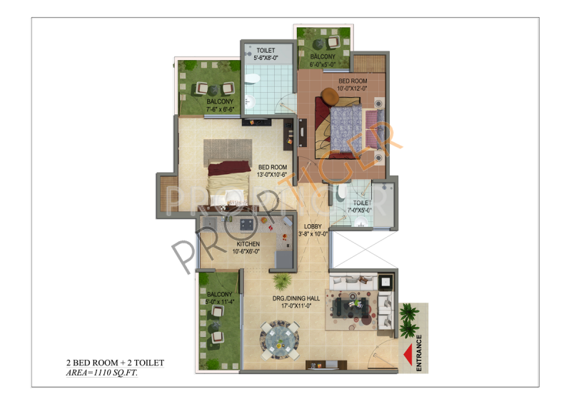 Cosmos Shivalik Homes (2BHK+2T (1,110 sq ft) + Study Room 1110 sq ft)