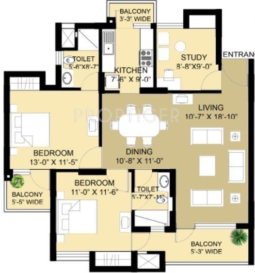 Eldeco Swagatam (2BHK+2T (1,410 sq ft) + Study Room 1410 sq ft)