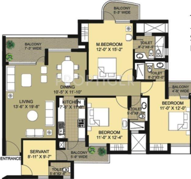 Eldeco Swagatam (3BHK+4T (2,055 sq ft) + Servant Room 2055 sq ft)