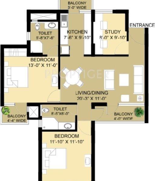 Eldeco Swagatam (2BHK+2T (1,095 sq ft) + Study Room 1095 sq ft)