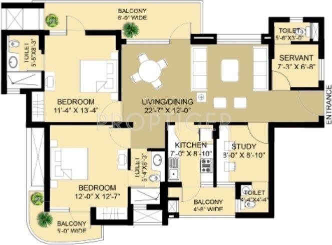 Eldeco Swagatam (2BHK+4T (1,610 sq ft) + Study Room 1610 sq ft)