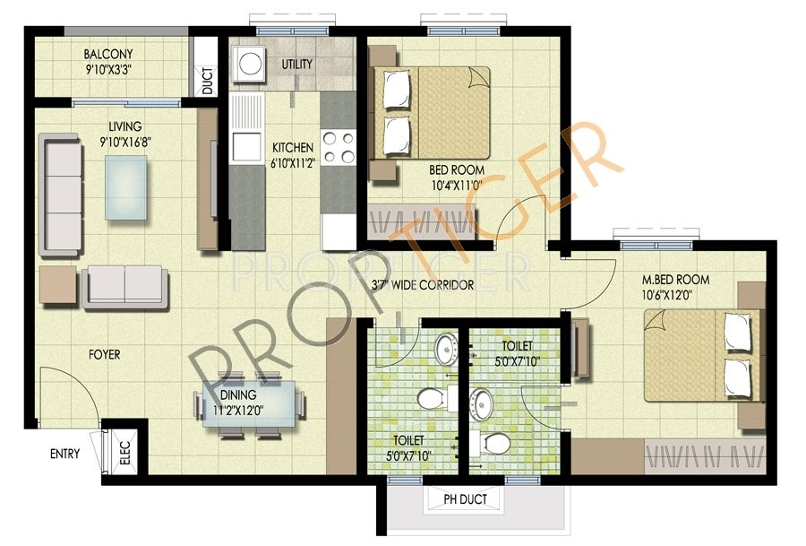 1000 Sq Ft 2 Bhk 2t Apartment For Sale In Brigade Orchards