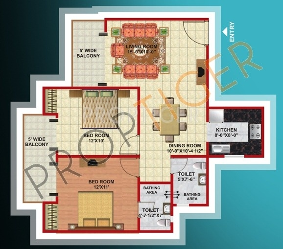 1080 sq ft 2 bhk 2t apartment for sale in mahagun group for Mascot homes floor plans