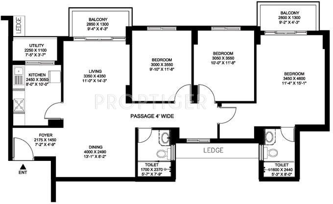 DLF Gardencity (3BHK+2T (1,559 sq ft) 1559 sq ft)