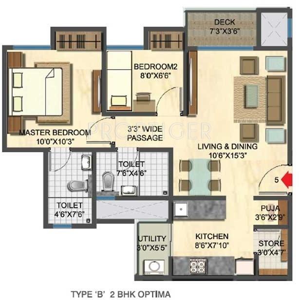 963 sq ft 2 bhk floor plan image lodha group casa rio for Sq ft prezzo per costruire casa