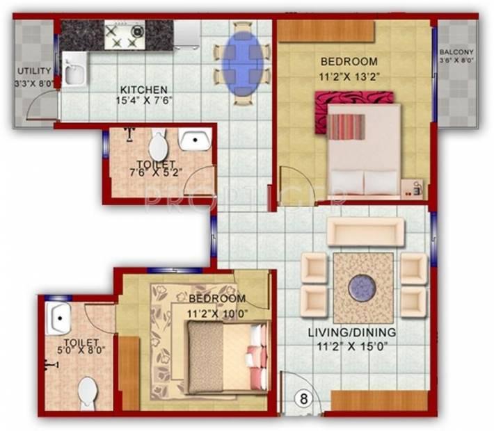 925 Sq Ft 2 Bhk Floor Plan Image Vakil Whispering Woods
