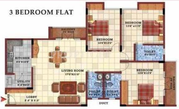 Gopalan Casa Gopalan (3BHK+3T (1,700 sq ft) 1700 sq ft)