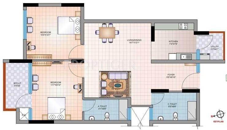 Mantri Synergy 2 (2BHK+2T (990 sq ft) 990 sq ft)