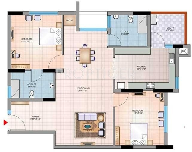 1120 sq ft 2 bhk 2t apartment for sale in mantri group for 1120 westchester place floor plan