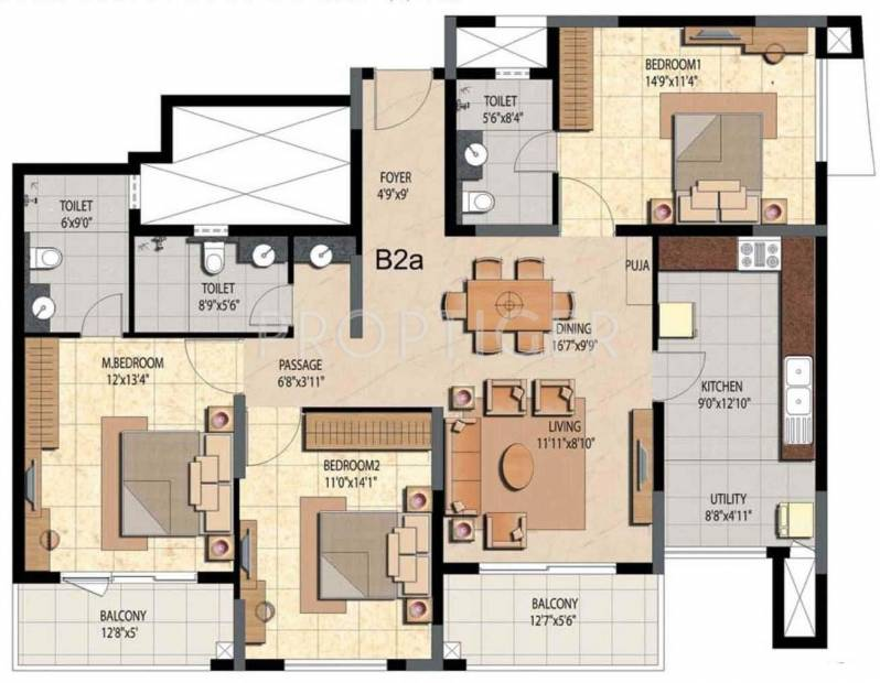 1800 sq ft 3 bhk floor plan image prestige group bella for Trademark quality homes floor plans