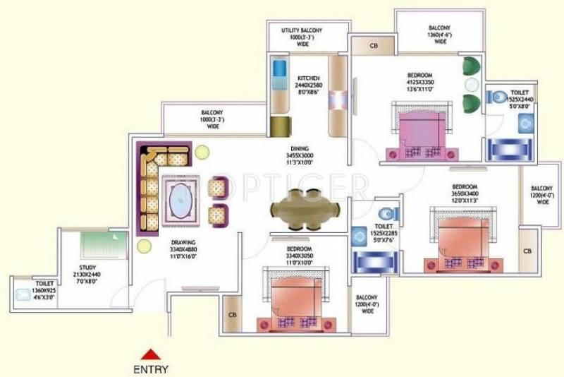 Amrapali Zodiac (3BHK+3T (1,550 sq ft) + Study Room 1550 sq ft)