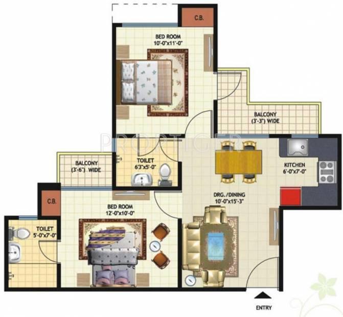 Amrapali Princely Estate (2BHK+2T (875 sq ft) 875 sq ft)