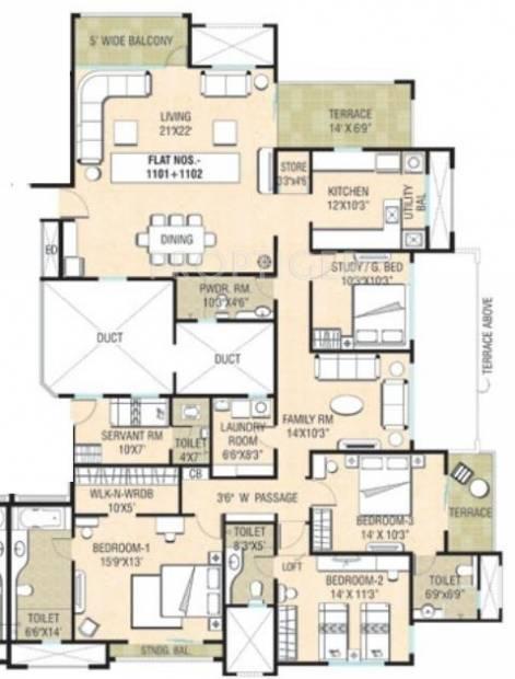 Naiknavare Sylvan Premium (4BHK+3T (2,697 sq ft)   Servant Room 2697 sq ft)