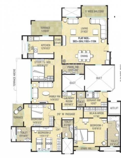 Naiknavare Sylvan Premium (4BHK+3T (2,705 sq ft)   Servant Room 2705 sq ft)