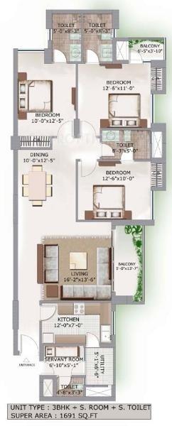 3C Lotus Boulevard (2BHK+3T (1,691 sq ft) + Servant Room 1691 sq ft)