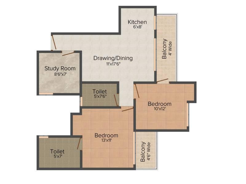 Amrapali Zodiac (2BHK+2T (1,075 sq ft) + Study Room 1075 sq ft)