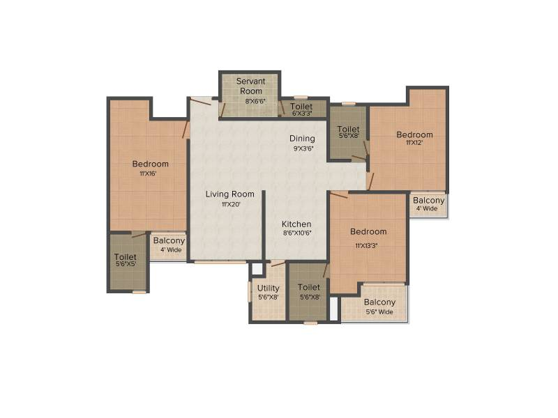 1425 Sq Ft 3 Bhk Floor Plan Image Paramount Floraville Available