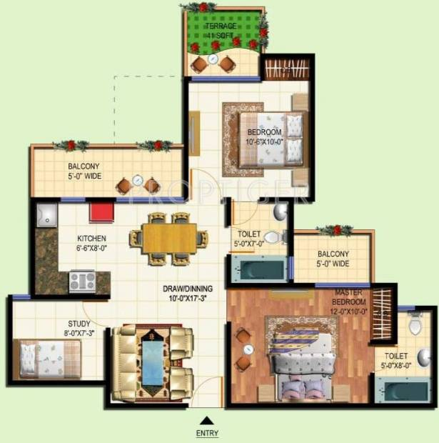Amrapali Terrace Homes (2BHK+2T (990 sq ft) + Study Room 990 sq ft)