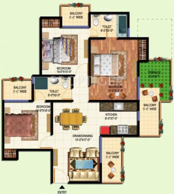 Amrapali Terrace Homes (3BHK+2T (1,185 sq ft) 1185 sq ft)