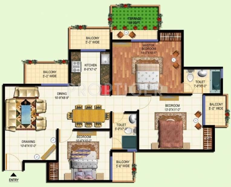 Amrapali Terrace Homes (3BHK+2T (1,400 sq ft) 1400 sq ft)