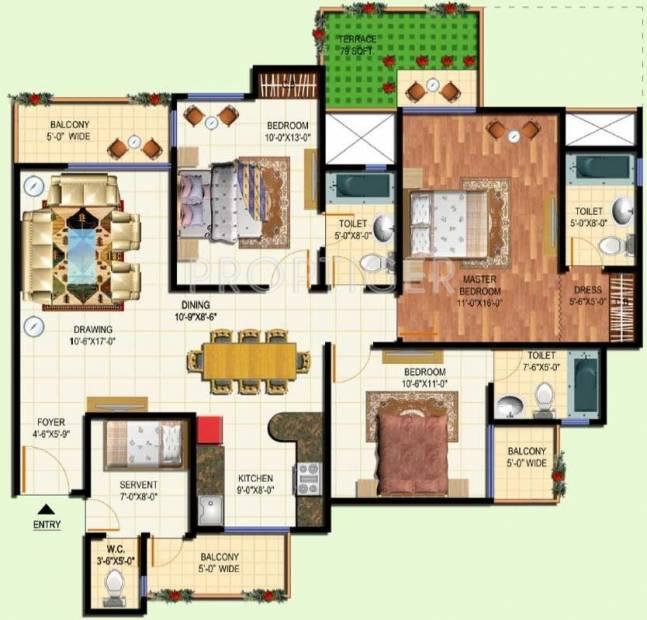1700 sq ft 3 bhk floor plan image amrapali group terrace for 1700 sq ft floor plans