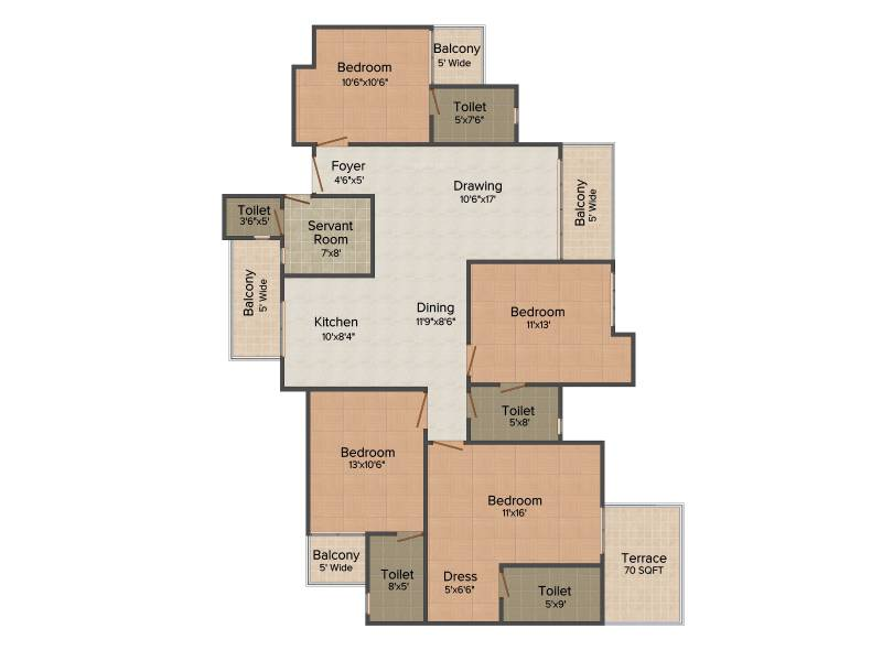 Amrapali Terrace Homes (4BHK+4T (2,070 sq ft) + Servant Room 2070 sq ft)