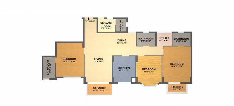 DLF Gardencity (3BHK+4T (2,064 sq ft) + Study Room 2064 sq ft)