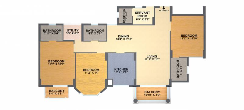 DLF Gardencity (3BHK+4T (2,113 sq ft)   Study Room 2113 sq ft)