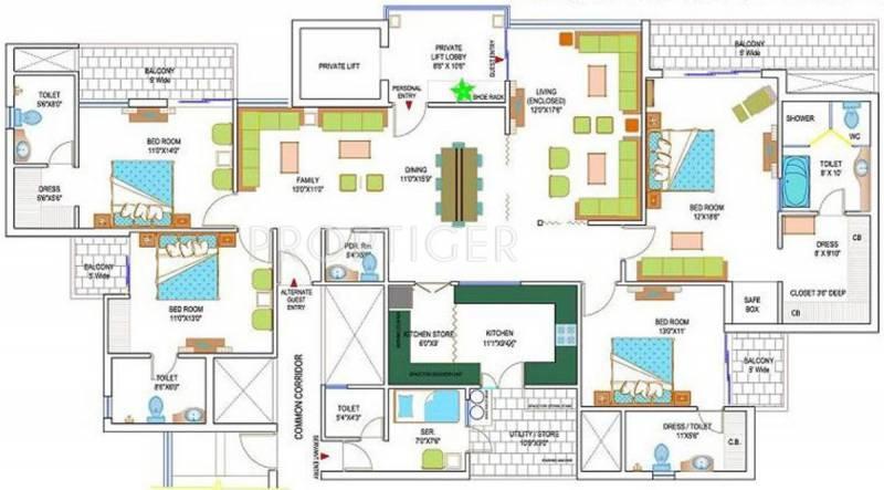 Amrapali Heartbeat City (4BHK+5T (3,235 sq ft) + Servant Room 3235 sq ft)
