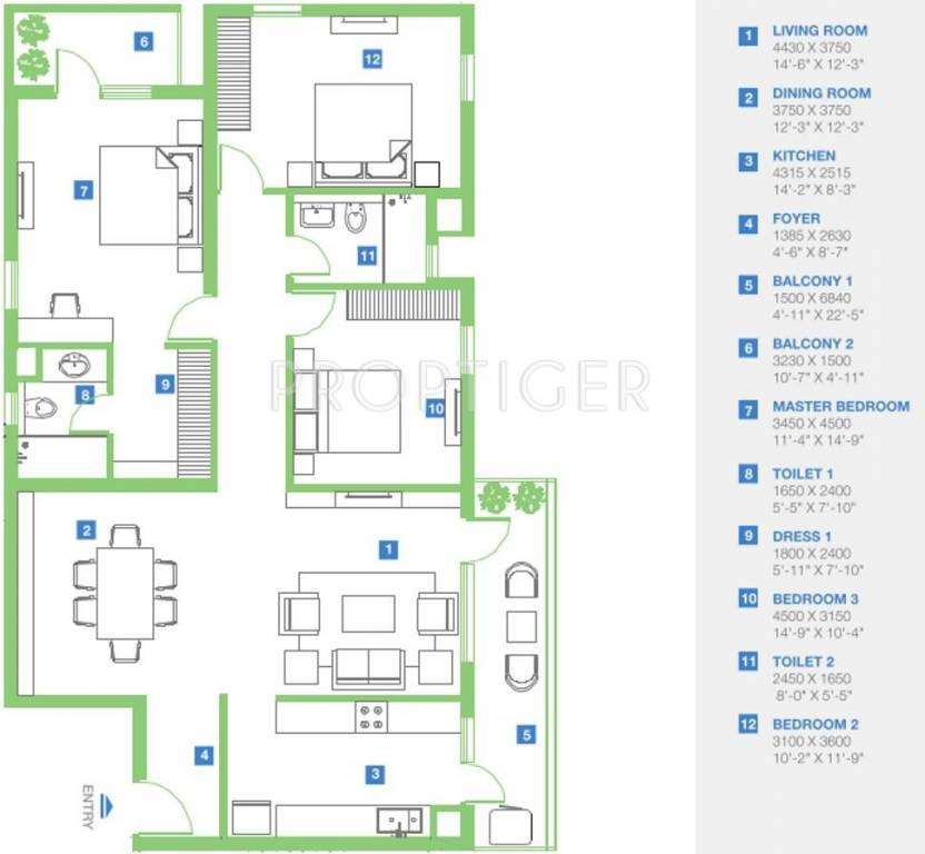 1840 Sq Ft 3 Bhk 2t Apartment For Sale In Vatika Group