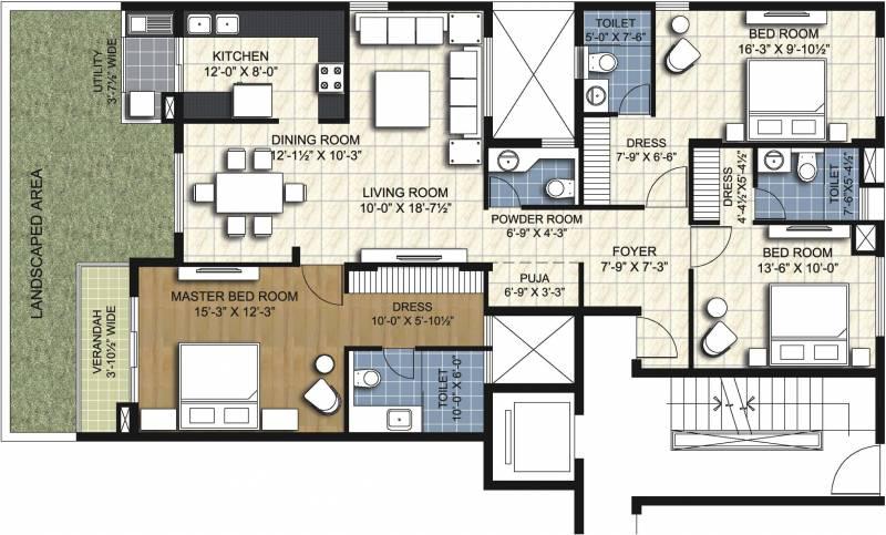 Unitech Resorts (3BHK+3T (1,850 sq ft)   Pooja Room 1850 sq ft)