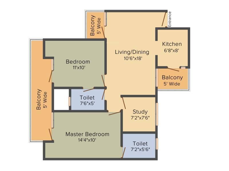 Nirala Aspire (2BHK+2T (1,180 sq ft)   Study Room 1180 sq ft)
