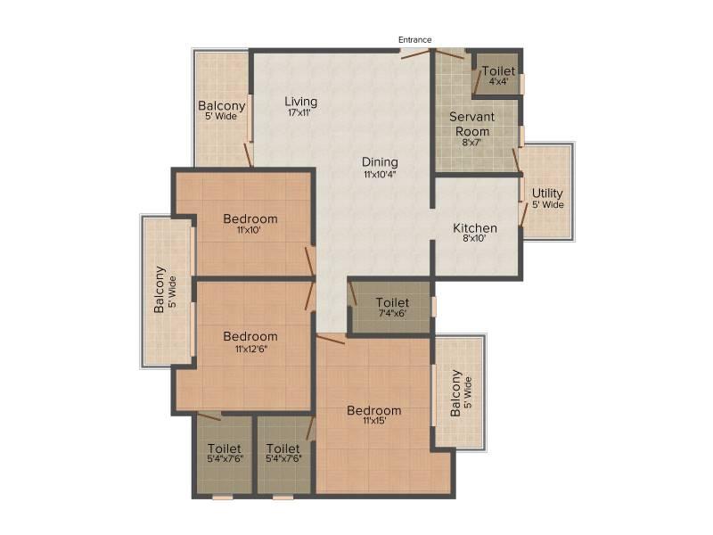 Amrapali Leisure Park (3BHK+4T (1,730 sq ft)   Servant Room 1730 sq ft)