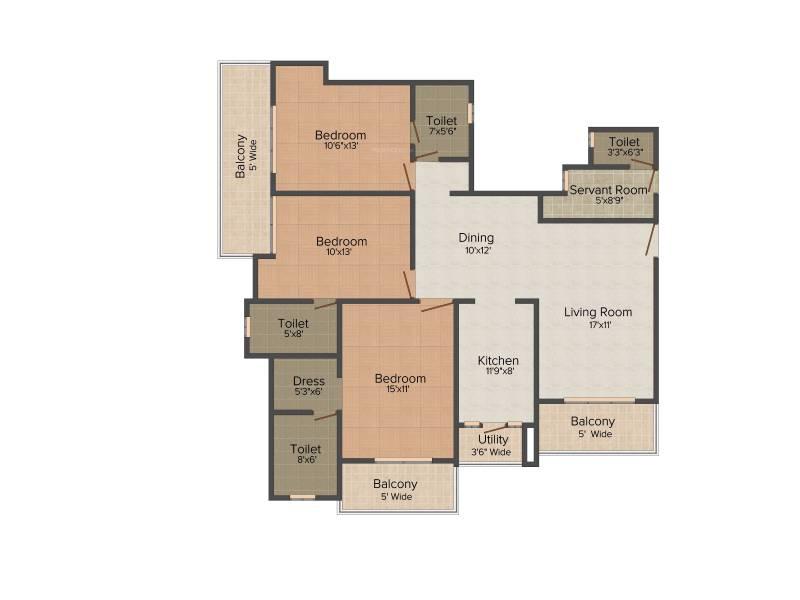 Amrapali Eden Park (3BHK+3T (1,785 sq ft) + Servant Room 1785 sq ft)