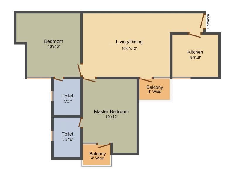 Unitech Unihomes 3 (2BHK+2T (899 sq ft) 899 sq ft)
