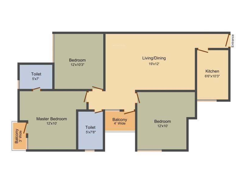 Unitech Unihomes 3 (3BHK+2T (1,168 sq ft) 1168 sq ft)