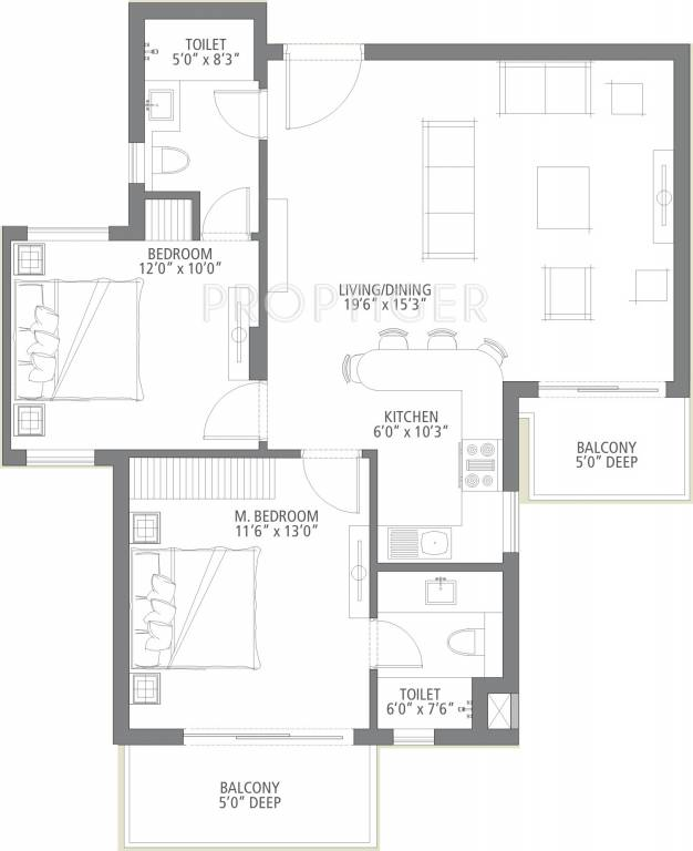 1125 sq ft 2 bhk 2t apartment for sale in emaar india palm for 1125 sq ft floor plan
