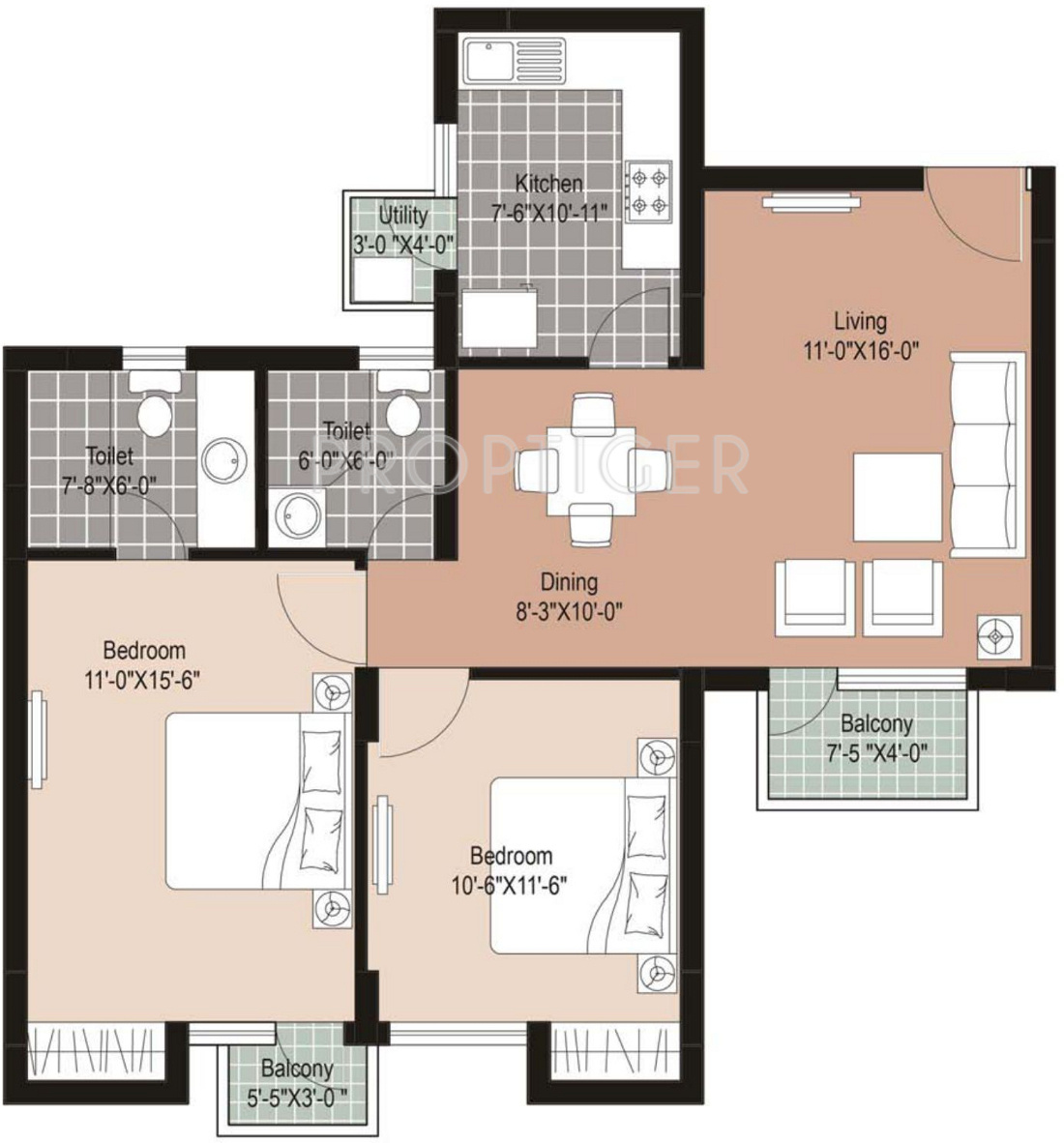 1100 sq ft 2 bhk 2t apartment for sale in unitech the for 1100 sq ft apartment floor plan