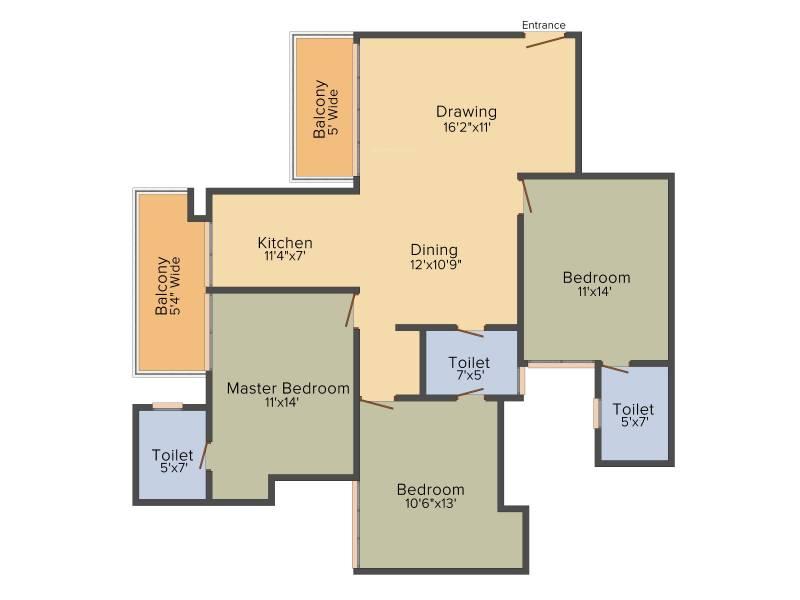 Tulip Violet (3BHK+3T (1,578 sq ft)   Pooja Room 1578 sq ft)