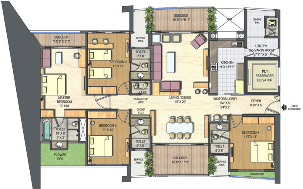3200 sq ft 4 bhk 5t apartment for sale in lodha bellissimo for Apartment floor plans 3000 sq ft