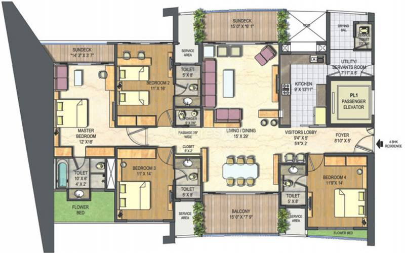 Lodha The Park Floor Plan: 3000 Sq Ft 4 BHK Floor Plan Image