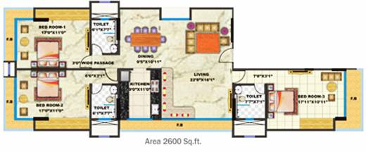 2540 Sq Ft 3 Bhk 3t Apartment For Sale In Rna Corp
