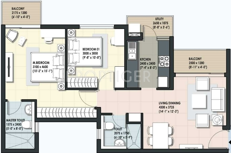 925 Sq Ft 2 Bhk 2t Apartment For Sale In Dlf Maiden