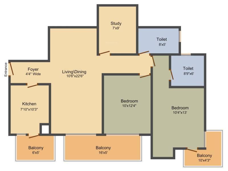 Indiabulls Centrum Park (2BHK+2T (1,385 sq ft) + Study Room 1385 sq ft)