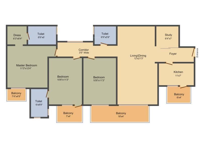 Indiabulls Centrum Park (3BHK+3T (1,790 sq ft) + Study Room 1790 sq ft)