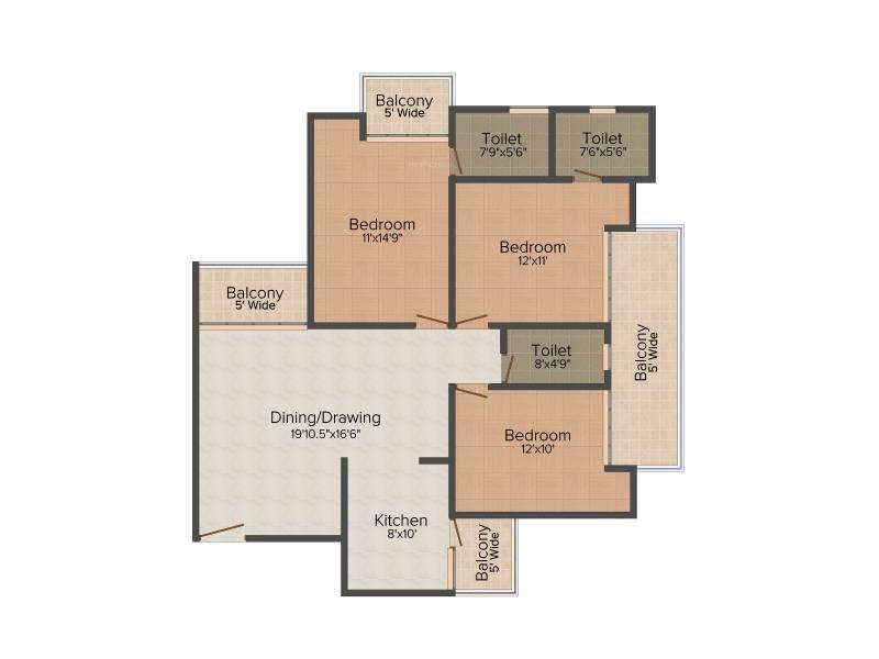 Amrapali Golf Homes (3BHK+3T (1,595 sq ft) 1595 sq ft)