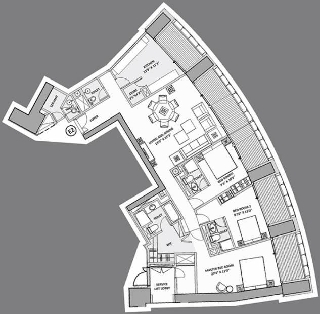 Lodha World Crest (3BHK+4T (2,826 sq ft) + Servant Room 2826 sq ft)