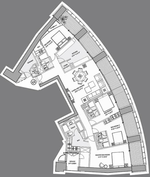 Lodha World Crest (4BHK+5T (3,267 sq ft) + Servant Room 3267 sq ft)