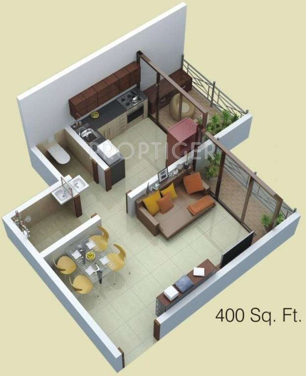 400 sq ft 1 bhk 1t apartment for sale in siddhitech homes for Home design 400 square feet