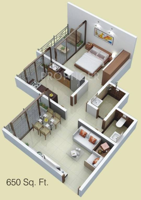 620 Sq Ft 1 Bhk 1t Apartment For Sale In Siddhitech Homes